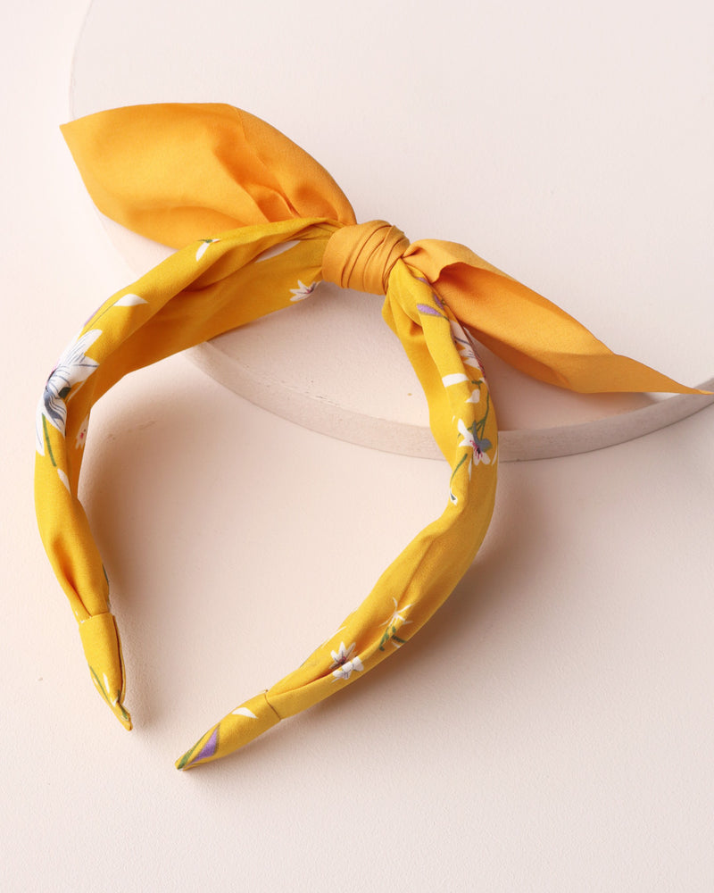 Load image into Gallery viewer, Floral Print Bow Headband - Mustard