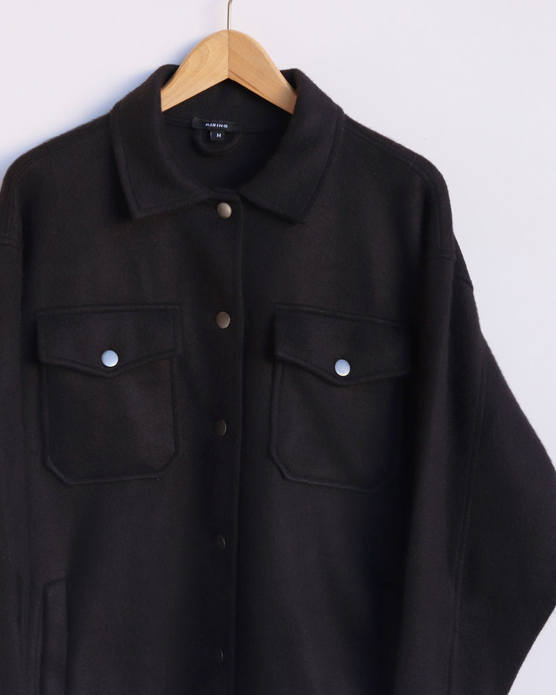 Load image into Gallery viewer, Edie Plain Shacket - Black