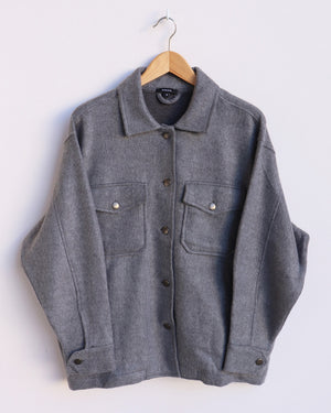 Edie Plain Shacket - Charcoal