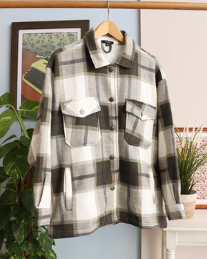 Load image into Gallery viewer, Martha Checked Shacket - Khaki