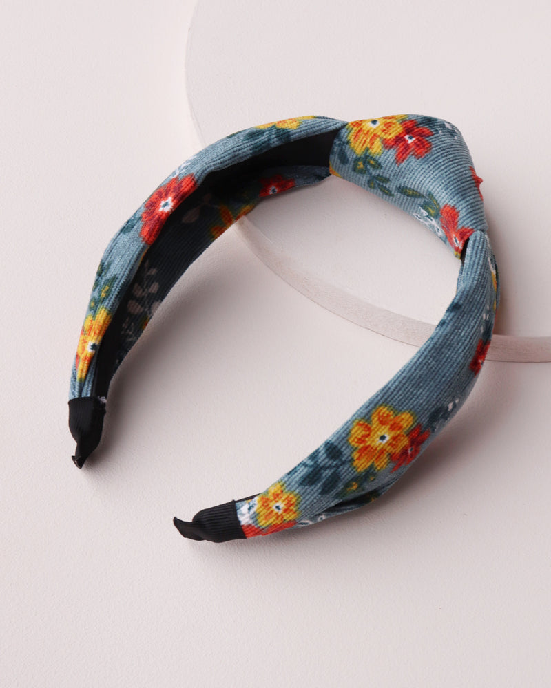 Load image into Gallery viewer, Baby Cord Floral Headband - Teal