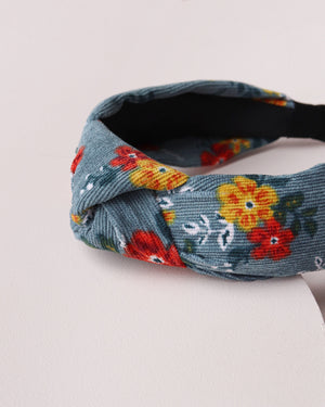 Baby Cord Floral Headband - Teal
