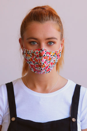 Load image into Gallery viewer, Ditsy Print Facemask - Orange - Ollie & Nic