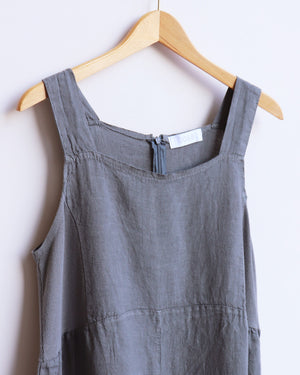 Load image into Gallery viewer, Daphne Linen Dungarees - Charcoal