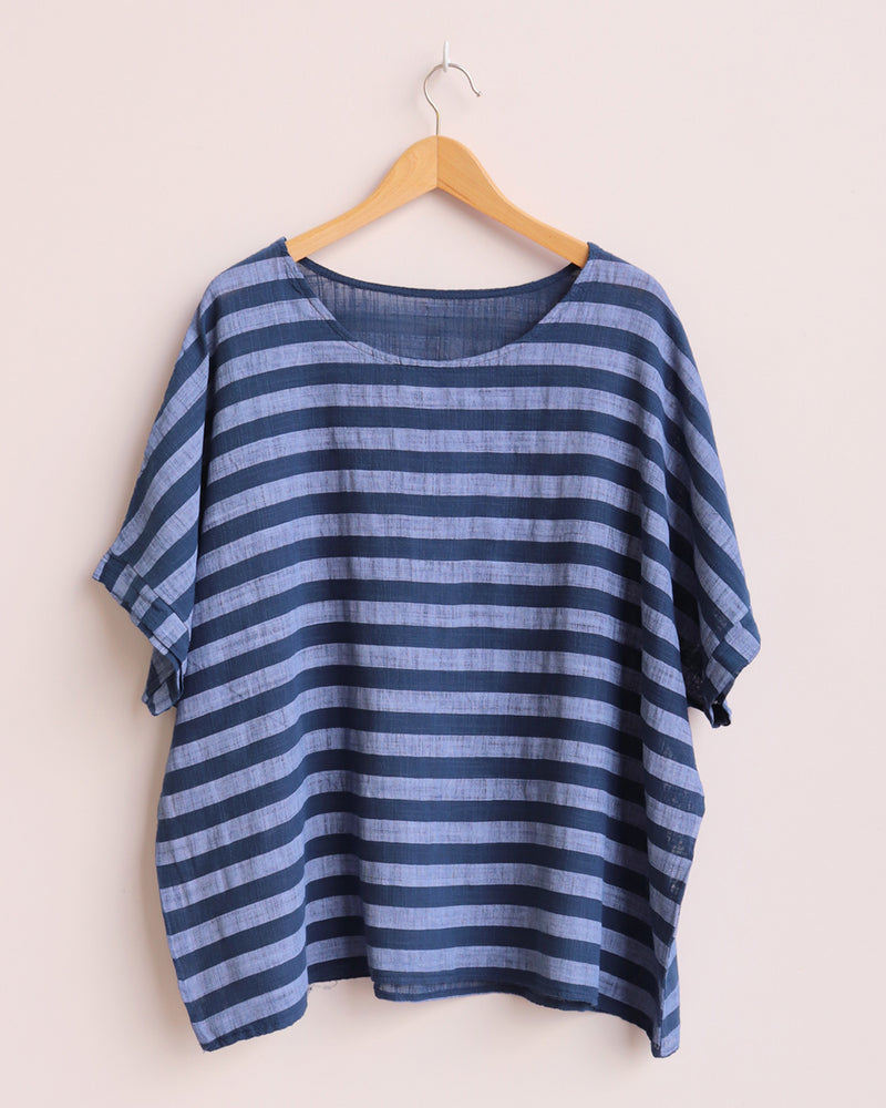 Esther Stripe Linen Top - Blue