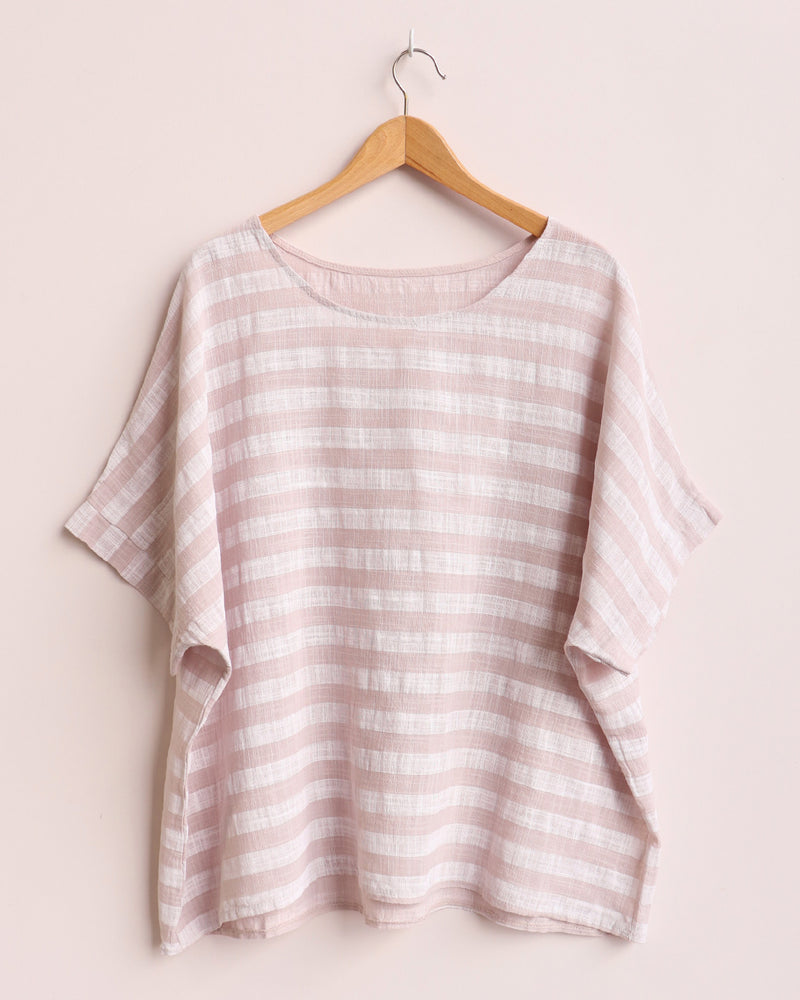 Esther Stripe Linen Top - Beige
