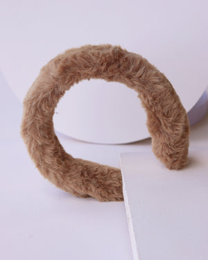 Faux Fur Headband - Camel