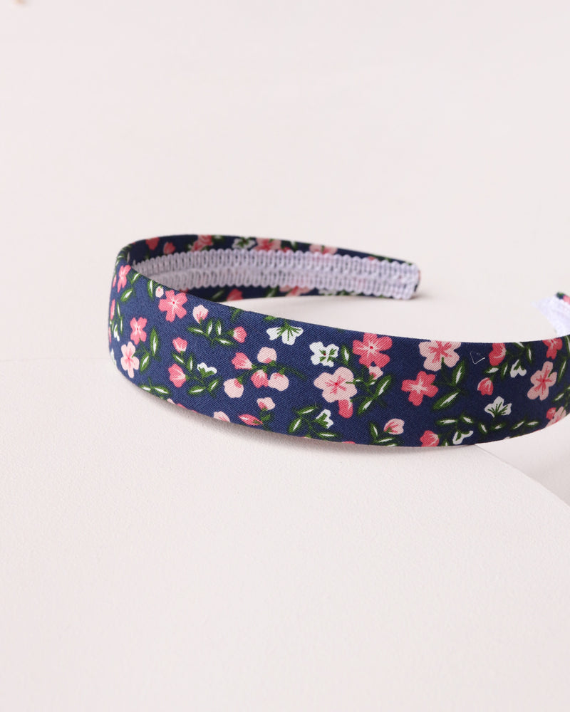 Simple Floral Headband - Navy