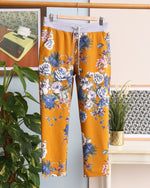 Faye Floral Print Joggers - Mustard