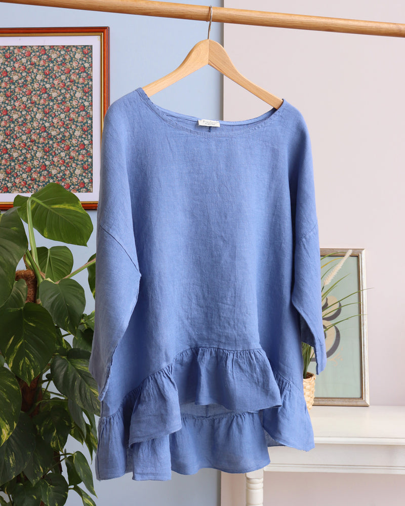 Freya Linen Top - Denim Blue