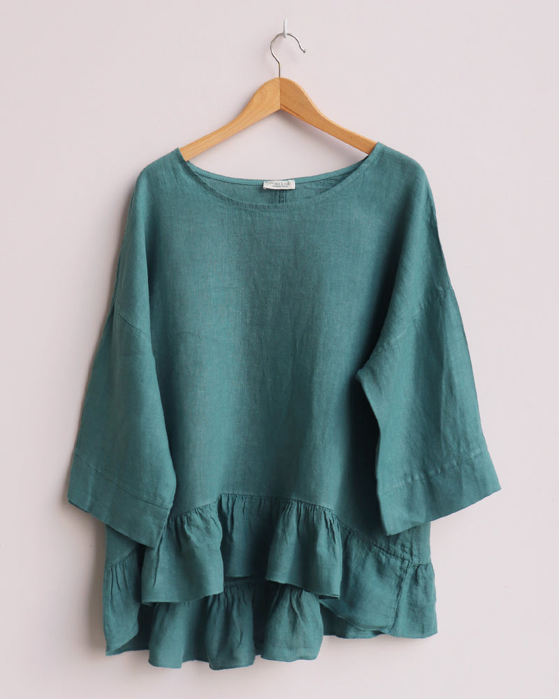 Freya Linen Top - Ocean Blue