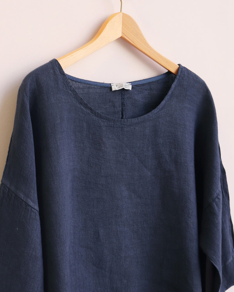 Freya Linen Top - Navy
