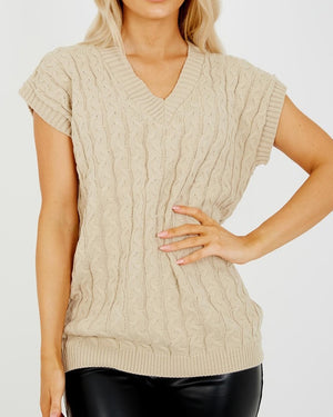 Hazel Cable Knit Vest - Beige