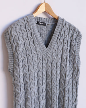 Hazel Cable Knit Vest - Grey