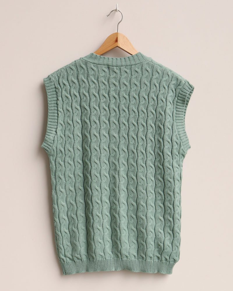 Load image into Gallery viewer, Hazel Cable Knit Vest - Mint