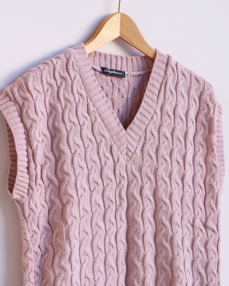 Load image into Gallery viewer, Hazel Cable Knit Vest - Dusty Pink