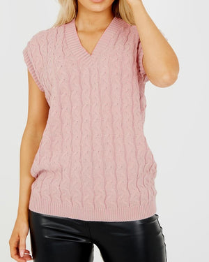 Hazel Cable Knit Vest - Dusty Pink