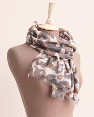 Leona Painted Leopard Scarf - Brown