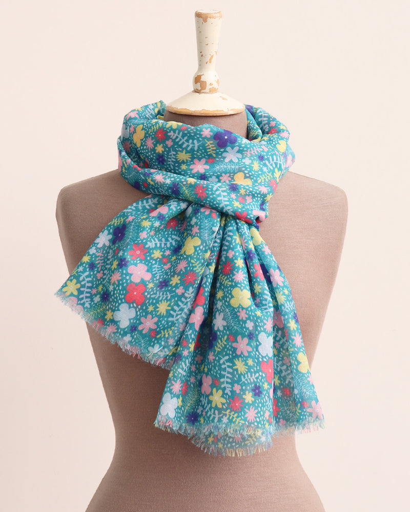 Load image into Gallery viewer, Mimi Ditsy Floral Scarf - Teal