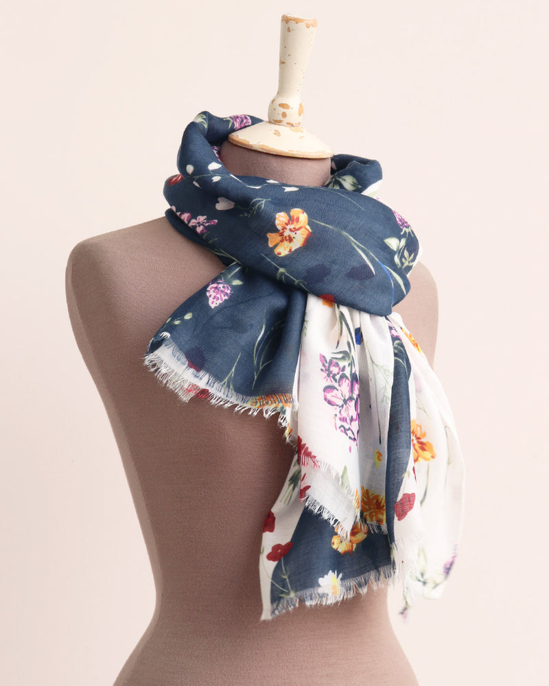 Load image into Gallery viewer, Monty Meadow Flowers Scarf - Navy / White