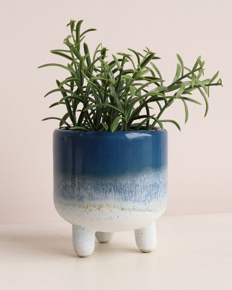 Mojave Glaze Planter - Blue