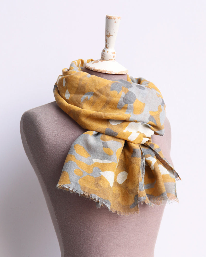 Load image into Gallery viewer, Curtis Camo Print Scarf - Mustard