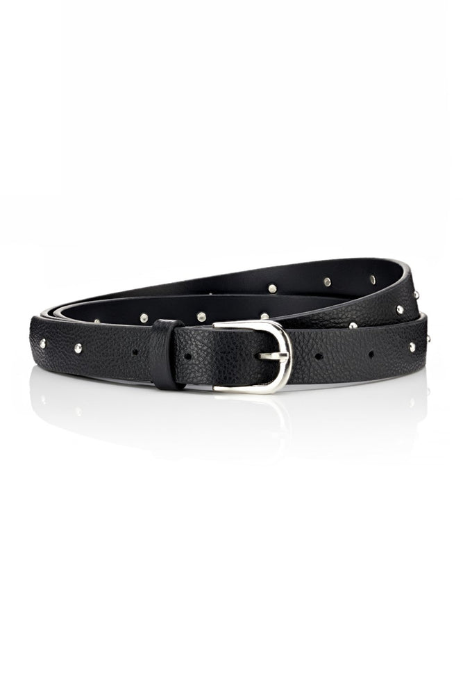 Narrow Belt - Black Leather - Ollie & Nic