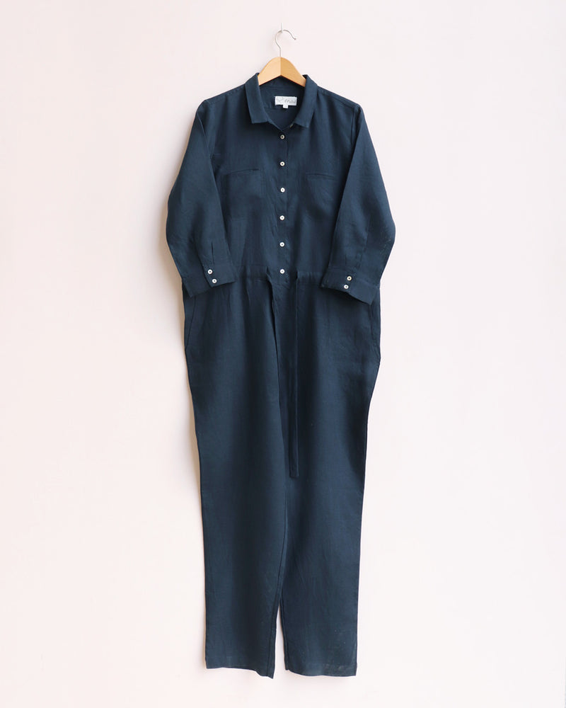 Linen Belted Jumpsuit with Pockets - Dark Blue