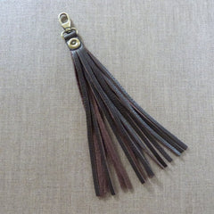 LEATHER TASSEL BAG CHARM - CHOC