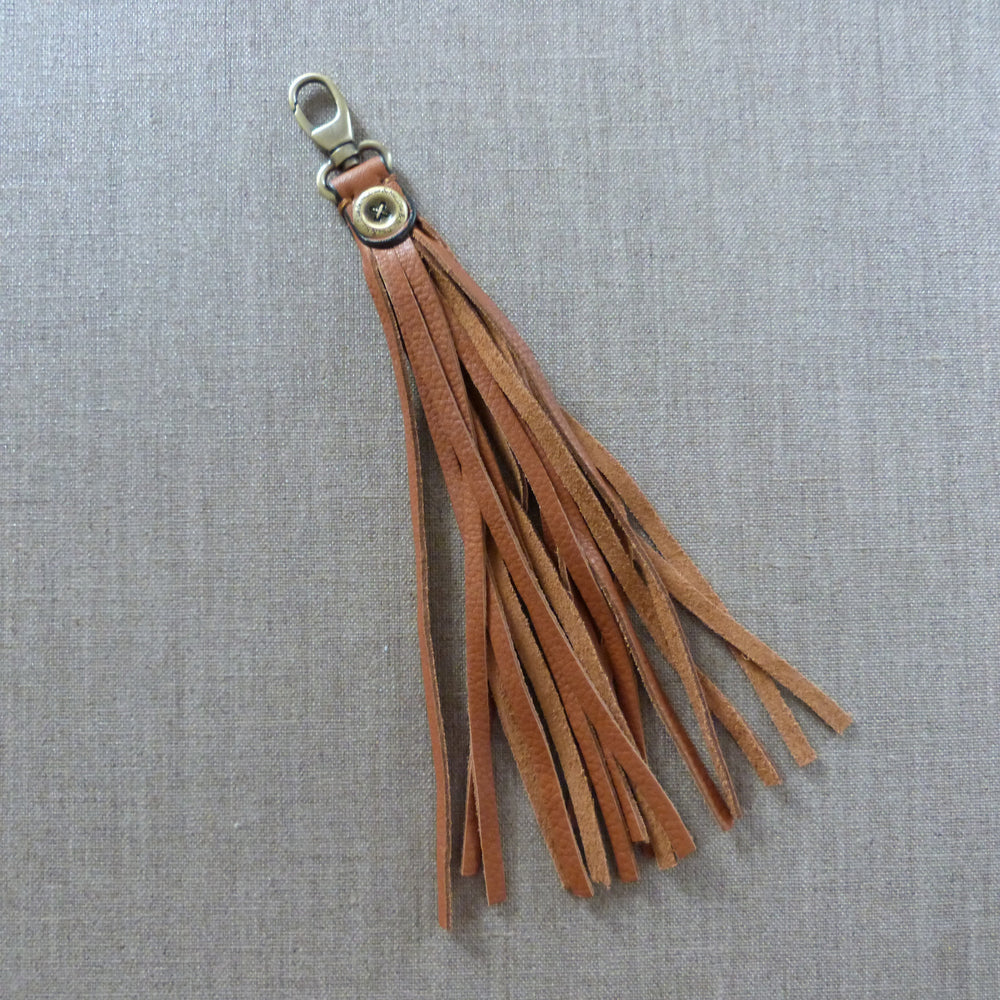 Leather Tassel Bag Charm - Tan - Ollie & Nic