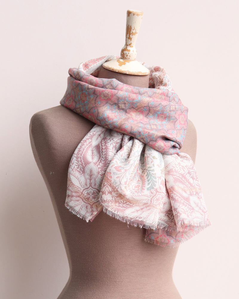Dusty Paisley Floral Scarf - Pastel