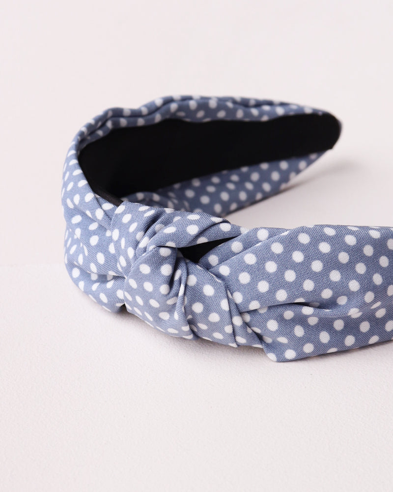 Polka Dot Knotted Headband - Light Blue