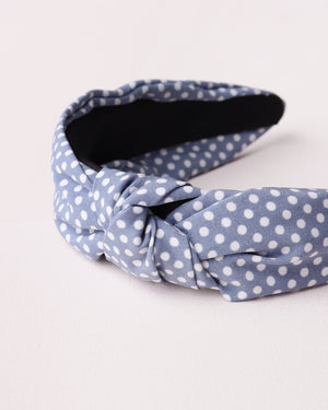 Load image into Gallery viewer, Polka Dot Knotted Headband - Light Blue