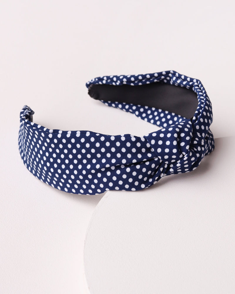 Polka Dot Knotted Headband - Navy