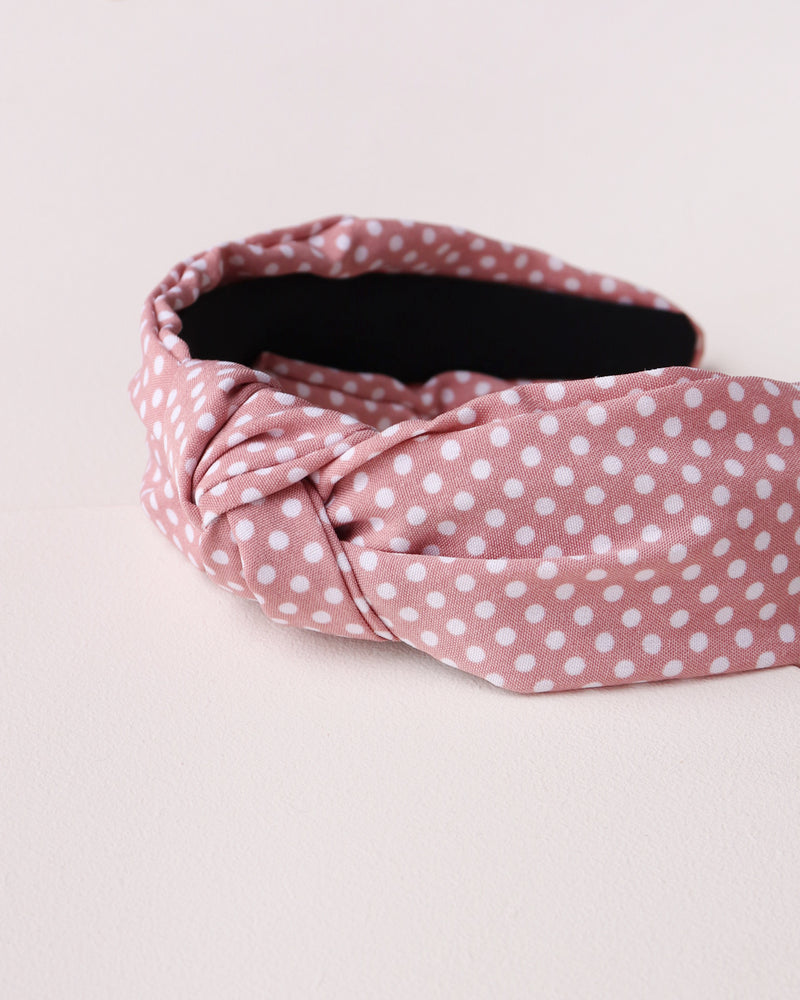 Polka Dot Knotted Headband - Pink