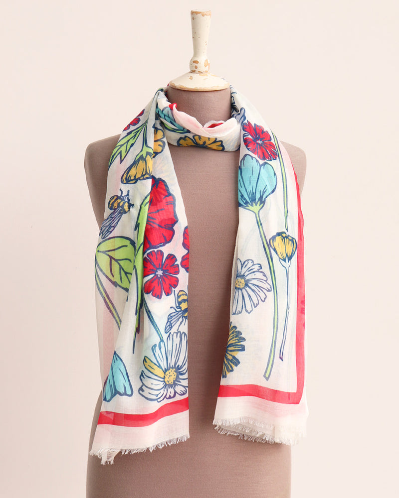 Queenie Floral Scarf - Cream