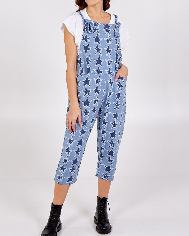 Ziggy Cropped Dungarees - Blue