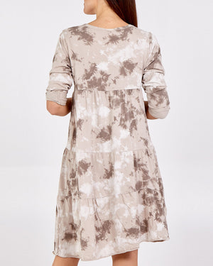 Tess Printed Tiered Dress - Stone
