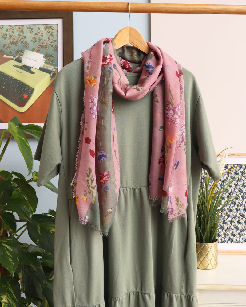 Tilly Tiered Midi Smock Dress - Khaki - Ollie & Nic