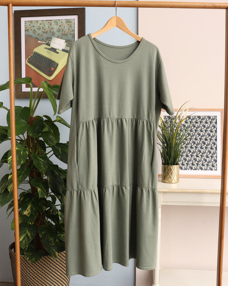 Tilly Tiered Smock Dress - Khaki