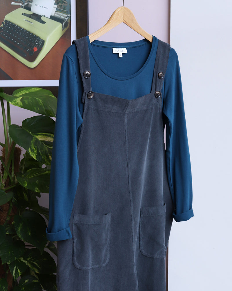 Load image into Gallery viewer, Maggie Baby Corduroy Dungarees - Dark Grey