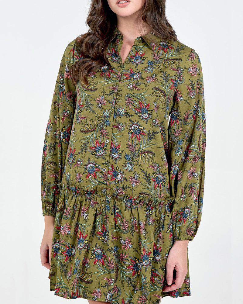 Rula Tiered Shirt Dress - Khaki