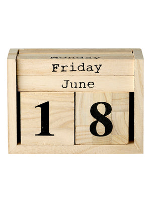 Load image into Gallery viewer, Wooden Block Calendar - Natural