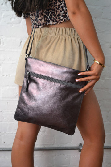 Hill + How - Large Cross Body Bag - Pewter