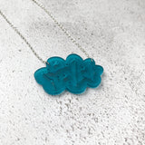 Matte teal cloud acrylic necklace