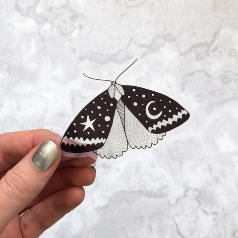 Glossy Clear Black Moth Sticker