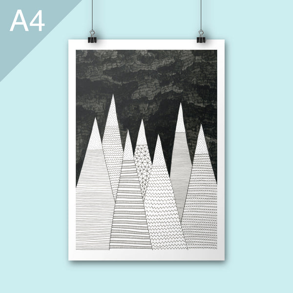 A4 illustration print of mountains