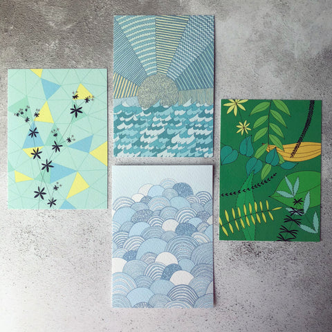Spring illustrated postcard set