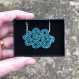 Teal cloud necklace in presentation box