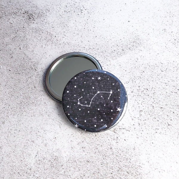 Zodiacs star sign black and white round pocket mirror